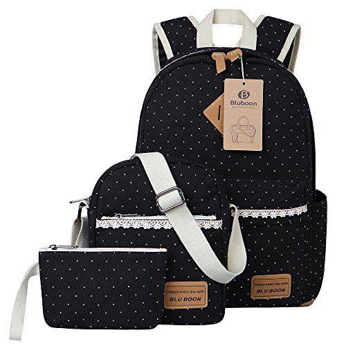 Schulrucksack Teenager Mädchen Schultaschen Canvas Schulrucksäcke A-schwarz