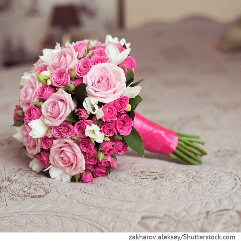 Brautstrau mit Rosen in pink  Hochzeit  Blumenstrau