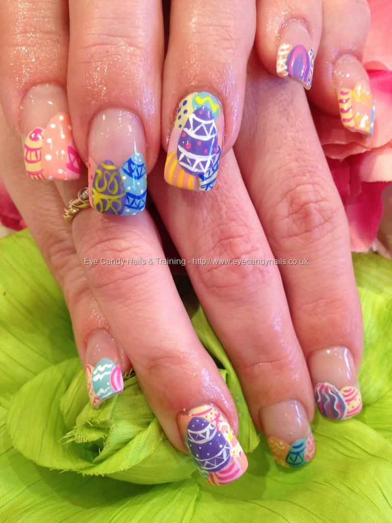 Easter egg freehand nail art on acrylic nails | fashions, jewelry ...