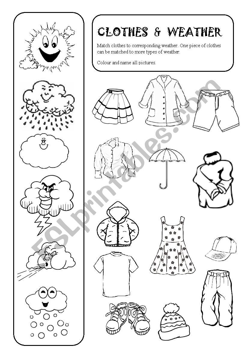 Match Clothes To Corresponding Weather One Piece Of Clothes Can Be Matched To More Types Of Weather Worksheets Weather Activities Preschool Clothes Worksheet [ 1169 x 826 Pixel ]