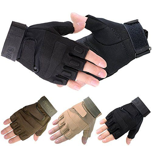 Half Finger Fingerless Tactical Airsoft Riding Cycling Gloves BLACK Large
