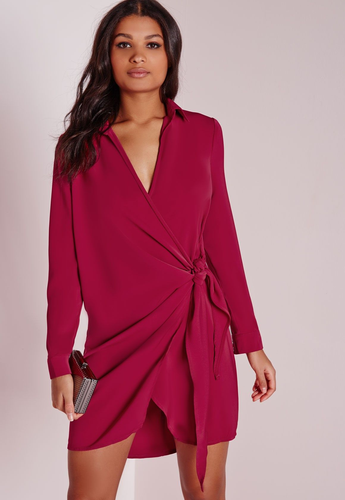 Missguided crepe wrap shirt dress raspberry clothes pinterest