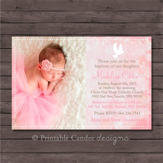 diy printable 5x7 demask baby girl baptism invitation with picture, Birthday invitations