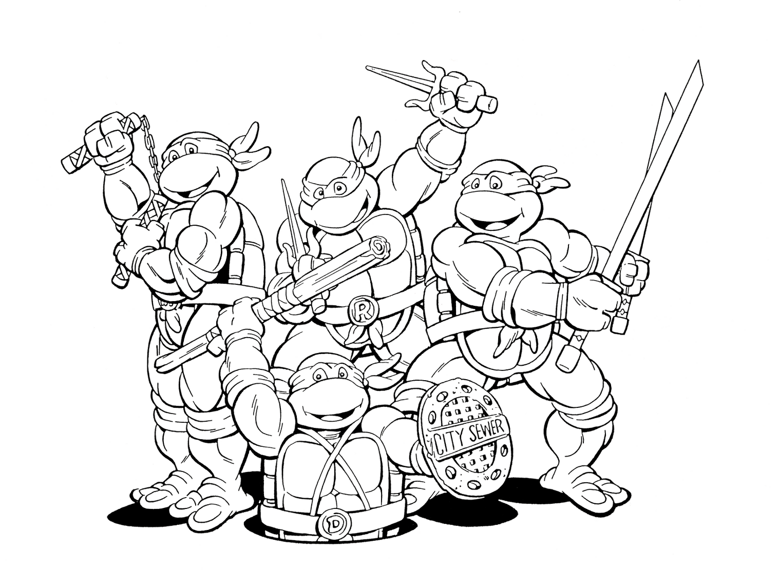 Ninja Turtles Funny Coloring Pages | Kids | Pinterest