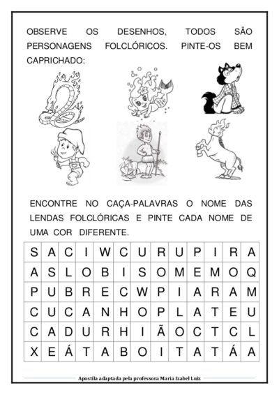Caca Palavras Do Folclore Brasileiro Para Imprimir Com Imagens