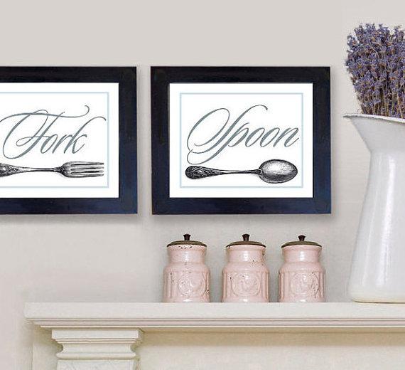 Wall Decor Kitchen Art Knife Fork Spoon Art Prints Kitchen Decor