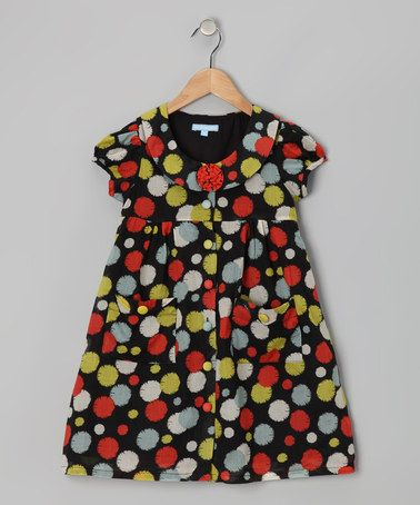Take a look at this Black Splatter Button Dress - Toddler & Girls by Willoughby on #zulily today!