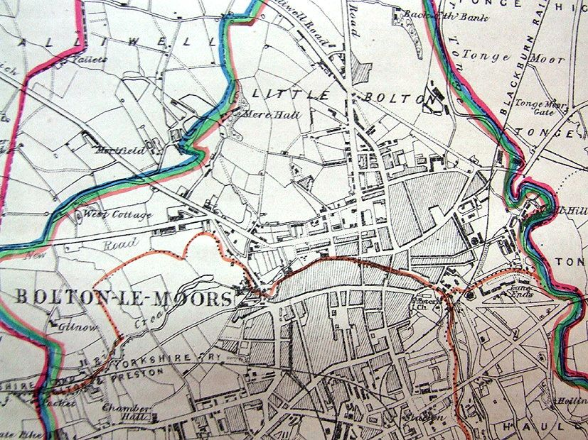LANCASHIRE BOLTON BOLTON LE MOORS Antique map 1868 may 16