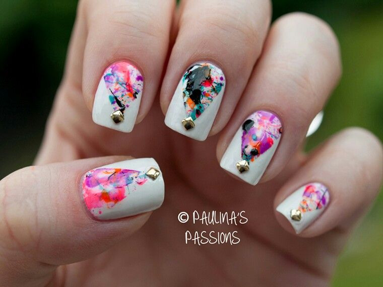 Tape splatter nails... Very cute! Copy and past the address if you ...