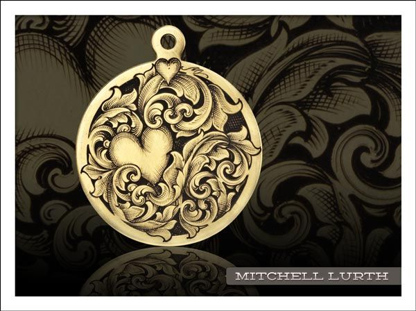 Hand engraved pendant in brass by mitchell lurth featured hand engraved pendant in brass by mitchell lurth mozeypictures Image collections