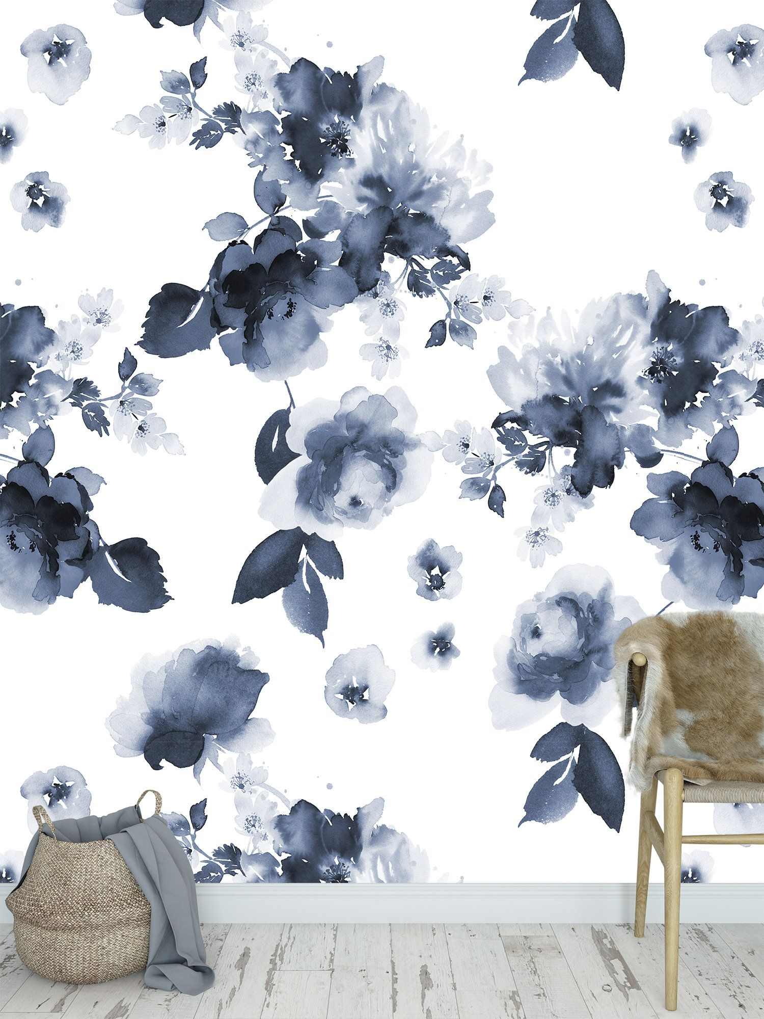 High Quality Peel And Stick Removable Self Adhesive Wallpaper Blue Watercolor Flower Pattern Wallpaper Watercolor Flowers Pattern Blue Floral Wallpaper Pattern Wallpaper