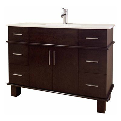 American Imagination AI-1 Alum 47-in. W x 17-in. D Transitional Birch Wood-Veneer Vanity Base Only