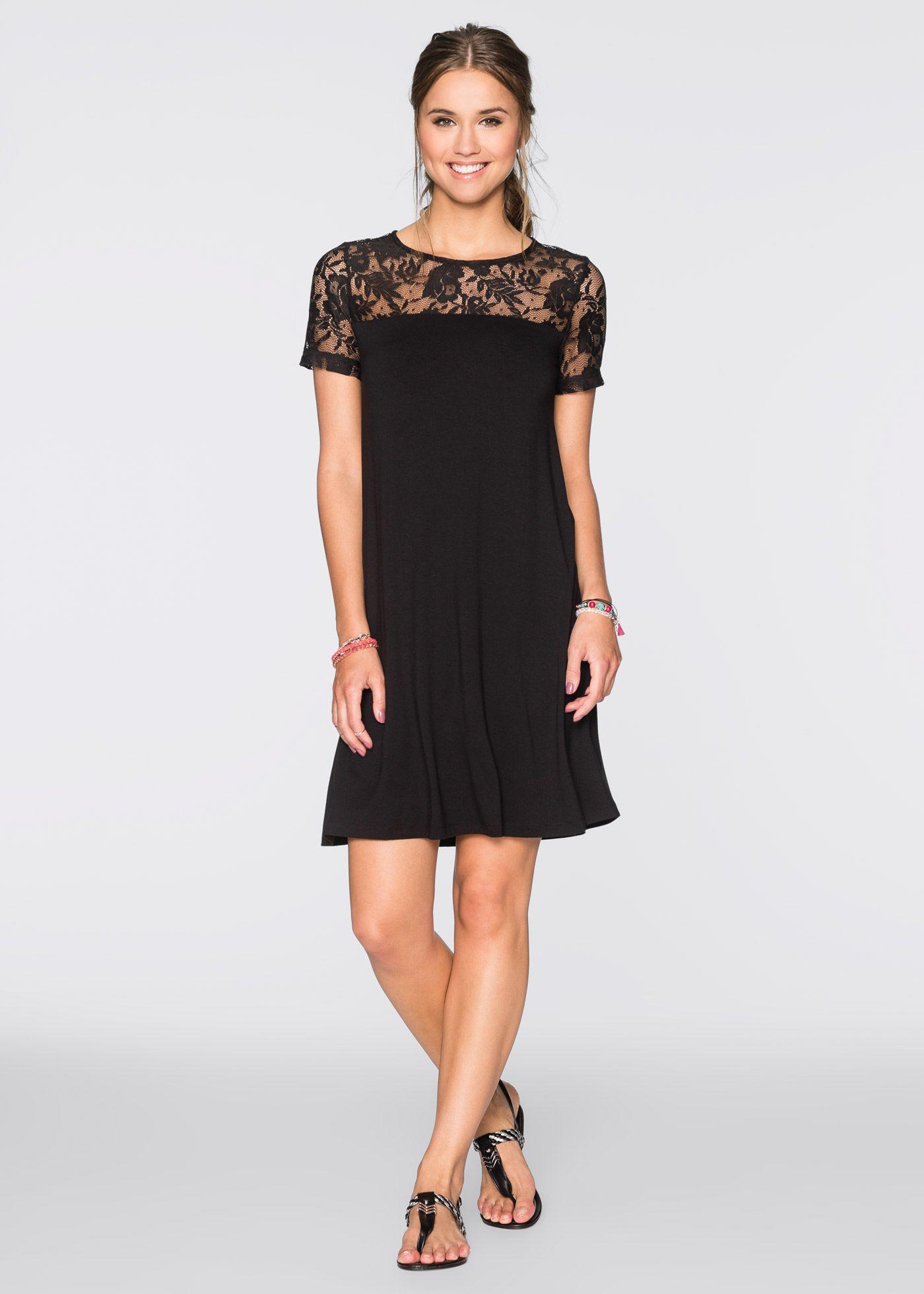 Kleid mit Spitzeneinsatz schwarz - RAINBOW jetzt im Online Shop von bonprix.de ab ? 19,99 bestellen. Ein schönes Outfit mit femininem Style ist das Kleid ...