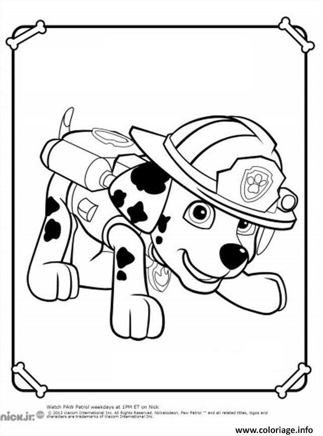 Coloriage pat patrouille dalmatien marcus marshall en mode pompier dessin imprimer dessin - Dessin pompier a imprimer ...