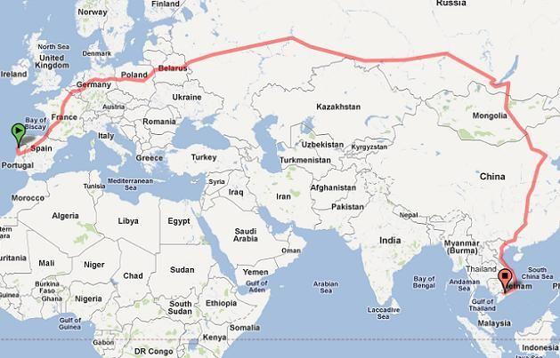 Sim A Mais Longa Viagem Em Comboio Do Mundo Começa Em Portugal - Portugal map distances
