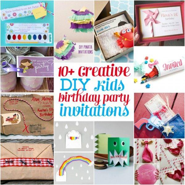 10 Creative Diy Kids Birthday Party Invitations Design Dazzle Diy Kids Birthday Party Birthday Invitations Kids Party Invitations Kids