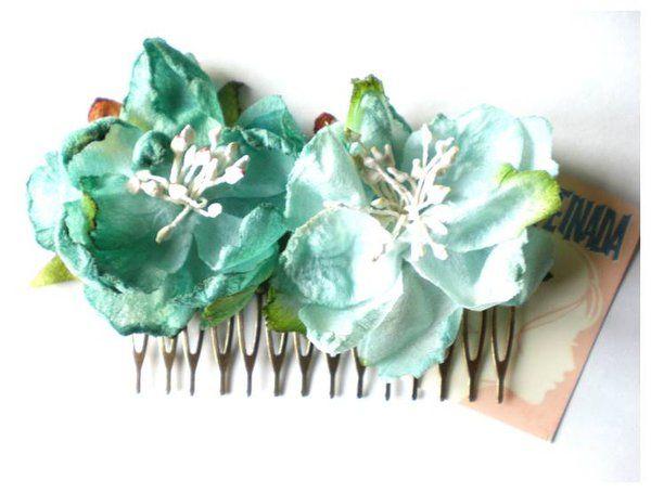 FLORES TURQUESA PEINETA - Despeinada Peineta Hair Comb Flores Wedding Romantic Vintage Style Sweet Turquesa Turquoise Boda