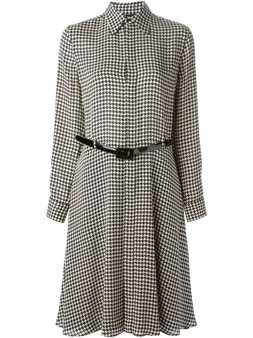 db6ab61907a Ralph Lauren Black Houndstooth Print Shirt Dress - Banner - Farfetch.com