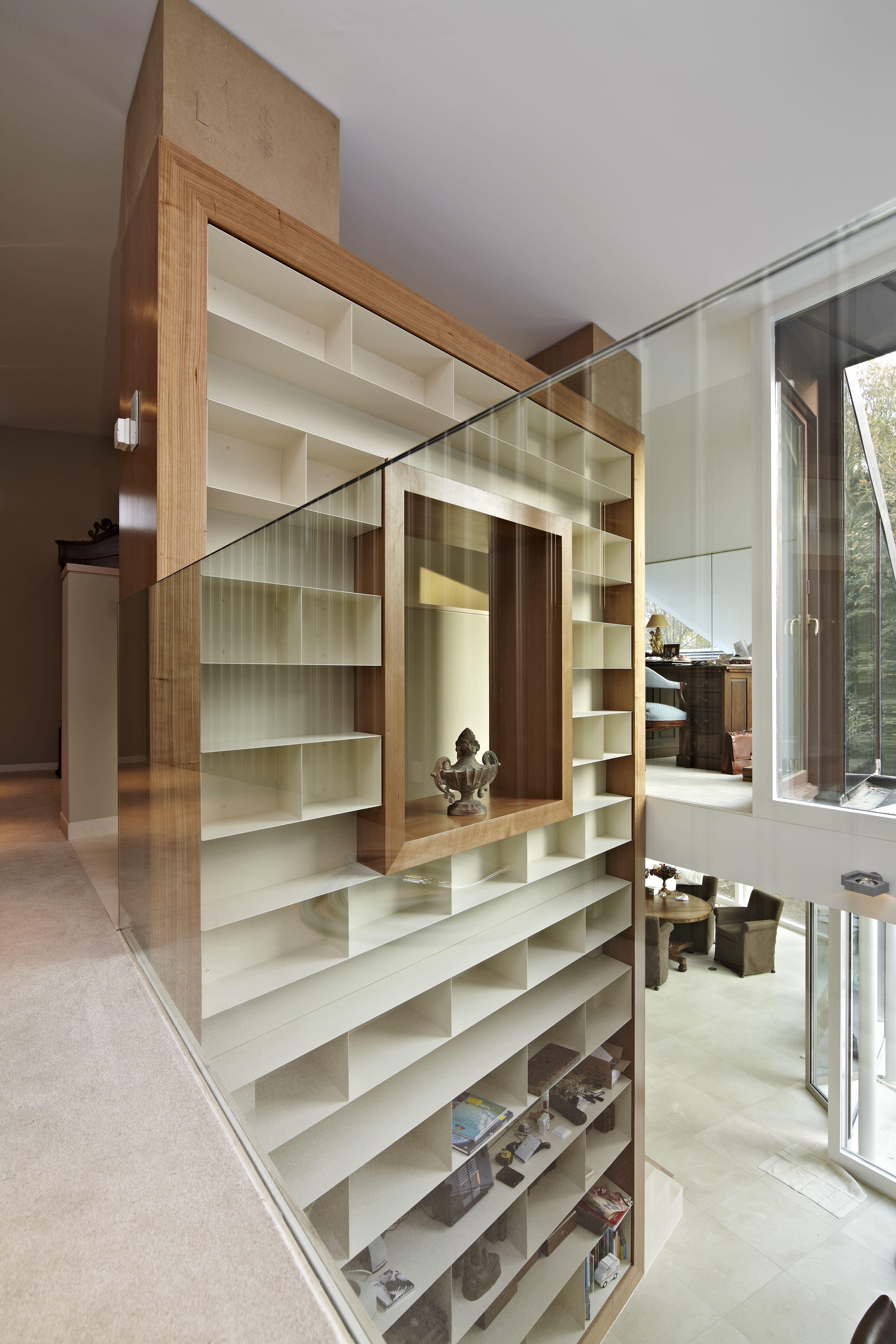 kersen fineer inbouwkast opmaat houtwerk boekenrek boekenkast modern