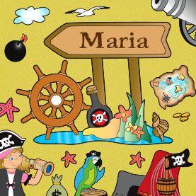 Adesivo murale Vascello pirata personalizzabile