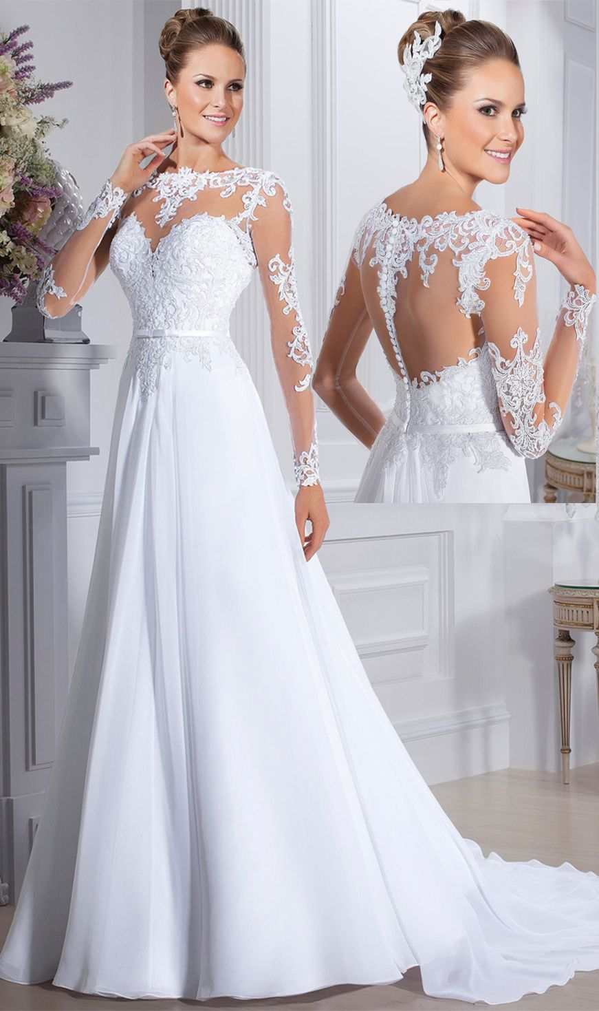 Wedding dresses with long sleeves   A Line Scoop Wedding Dresses Long Sleeves Chiffon With Applique