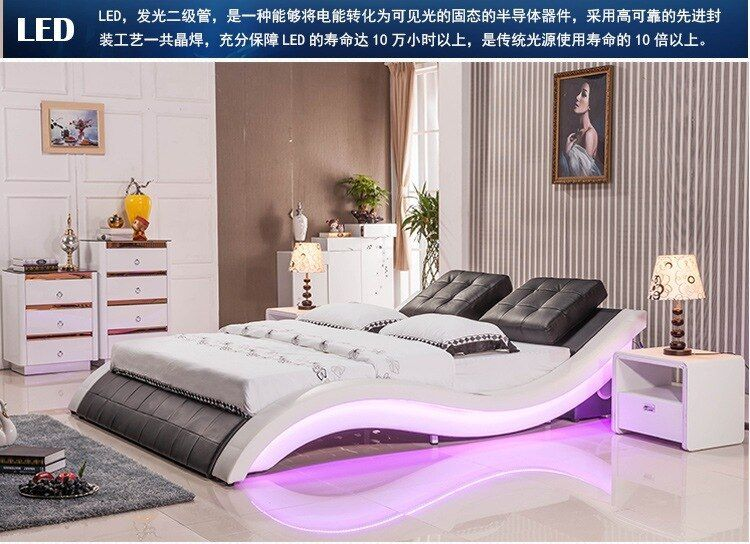 Modern Real Genuine Leather Bed Soft Bed Double Bed King Queen