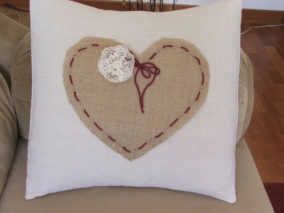 Simple, rustic Valentine's pillow