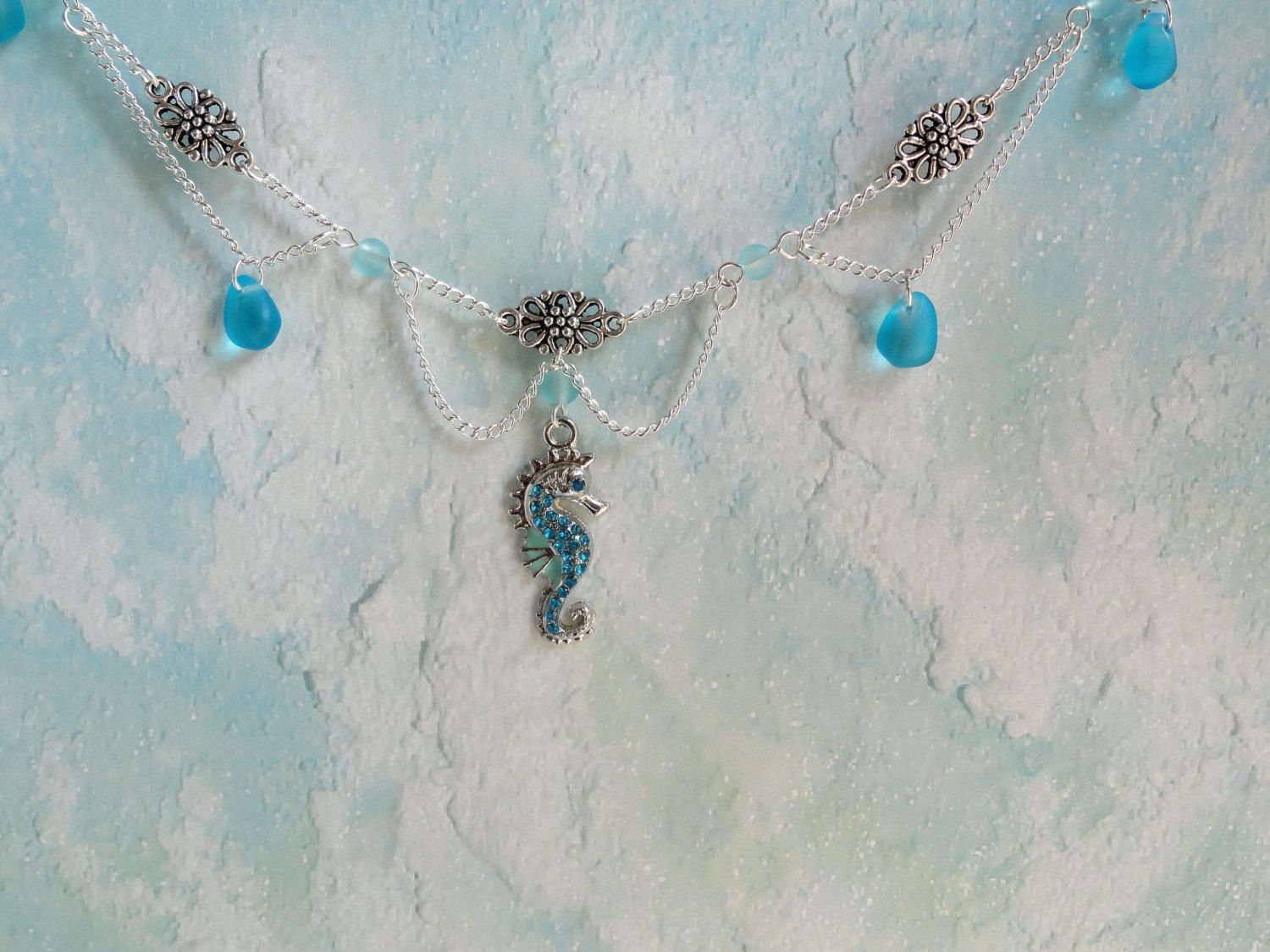 Charming Seahorse Ankle Bracelet / Seahorse Charm Anklet with Rhinestones by ARexrodeCreations on Etsy