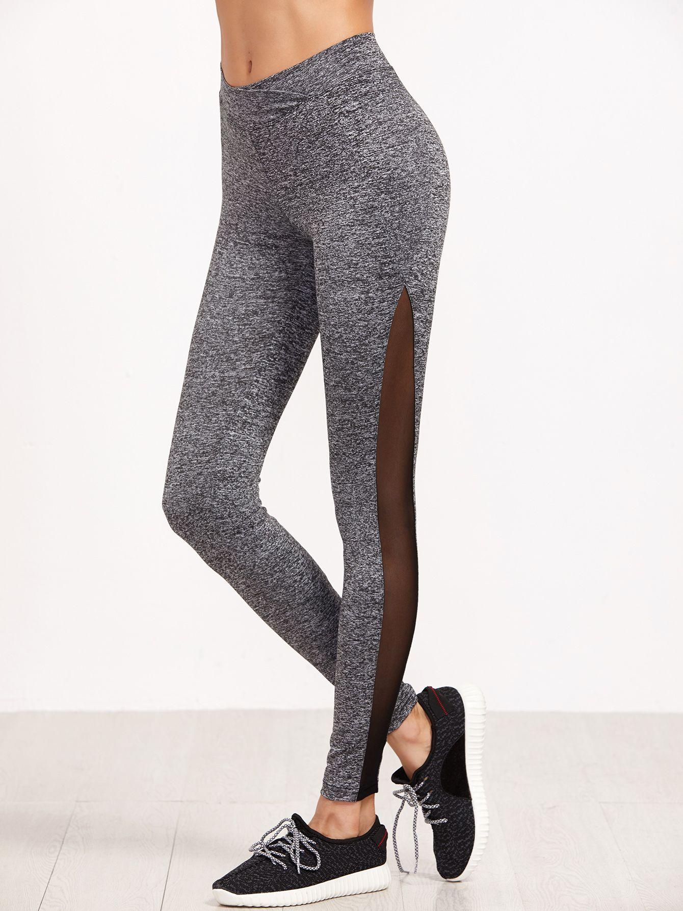 e5430f1afc979f Shop Grey Marled Knit Contrast Mesh Insert Leggings online. SheIn ...