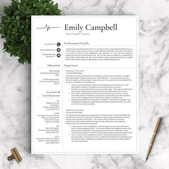 Nurse Resume Template for Word  Pages / Medical Resume, Nurse CV - resume 1 or 2 pages