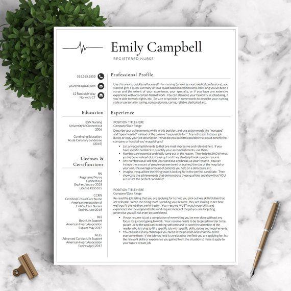 Nurse Resume Template for Word & Pages 1 2 by LandedDesignStudio ...
