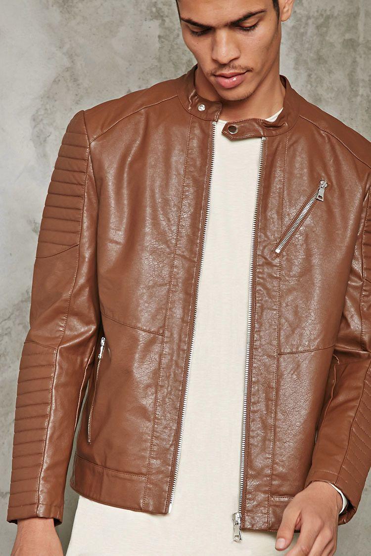 Ribbed Faux Leather Jacket 21 Men 2000213799 Leather Jacket Mens Jackets Faux Leather Jackets [ 1125 x 750 Pixel ]