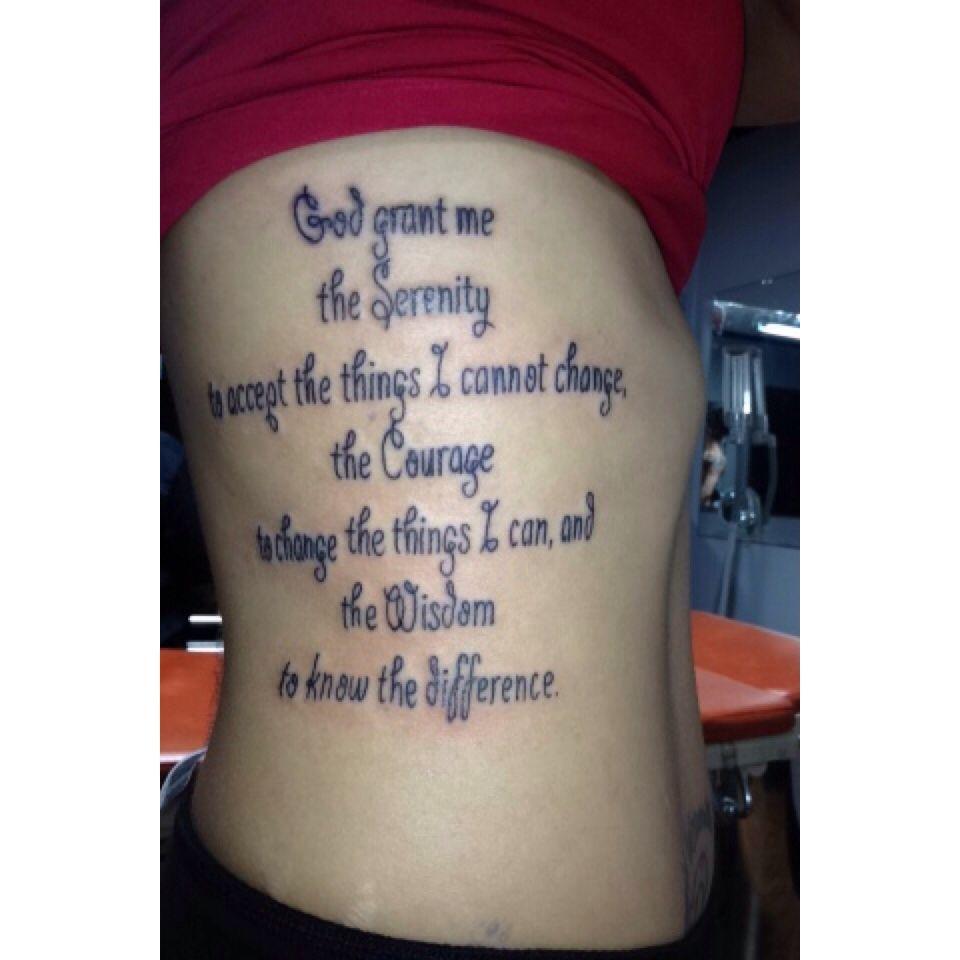 Serenity Prayer Tattoo Ribtattoos Serenityprayer Tattoos Serenity Prayer Tattoo Rib Tattoo Prayer Tattoo