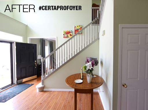 AFTER! Fresh green paint makes the entry feel spacious and light #CertaProFoyer