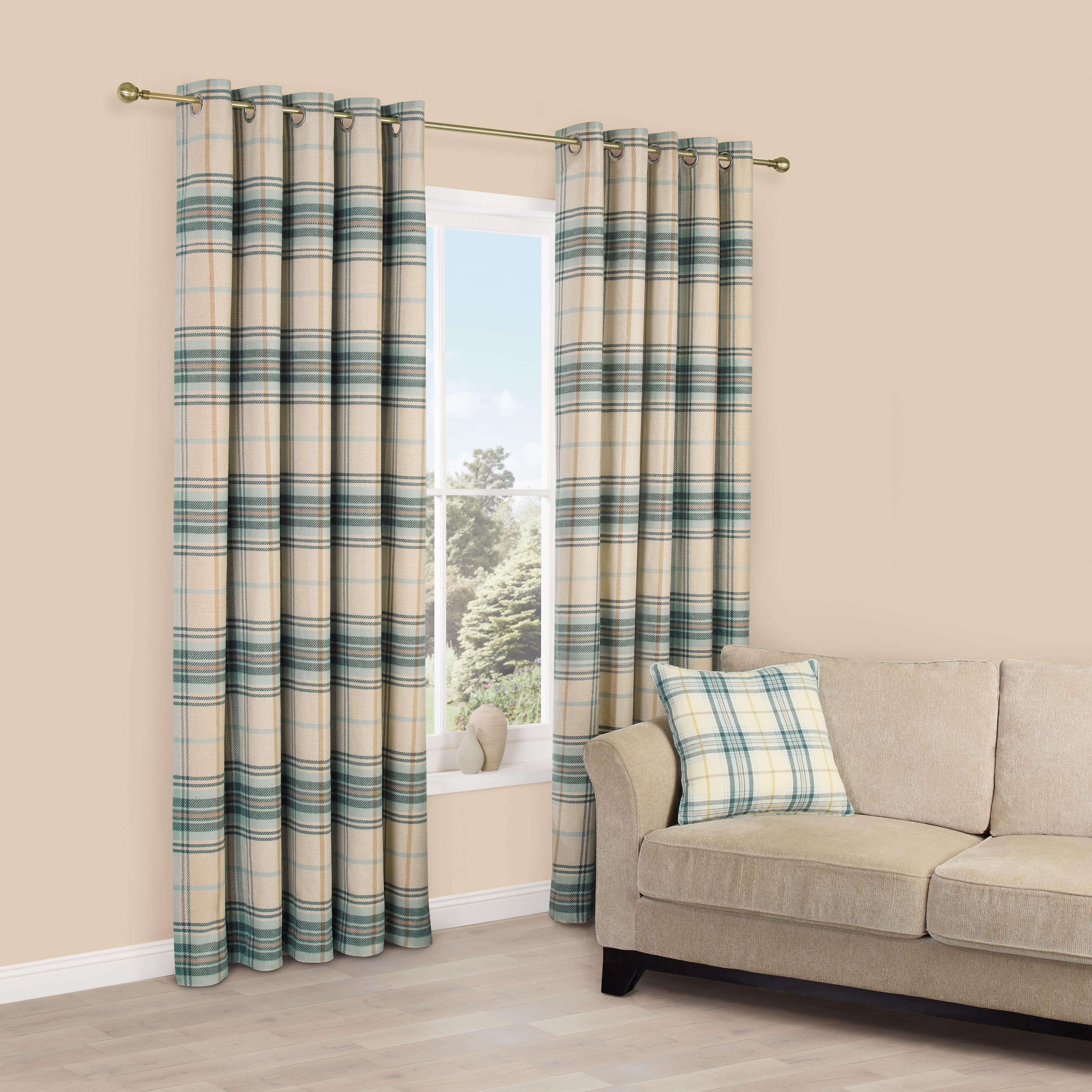 Lamego Duck Egg Cream Checked Brushed Eyelet Curtains W167cm L
