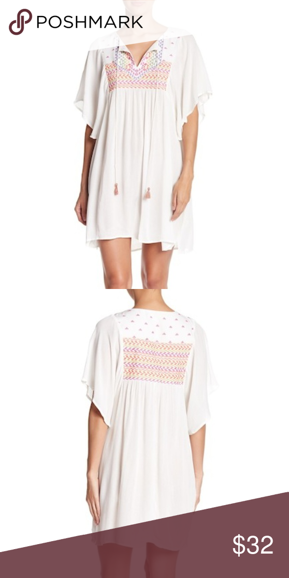 433e6488aa2a Love Stitch Embroidered Mini Semi sheer dress Super cute Semi sheer dress,  great for Vacation