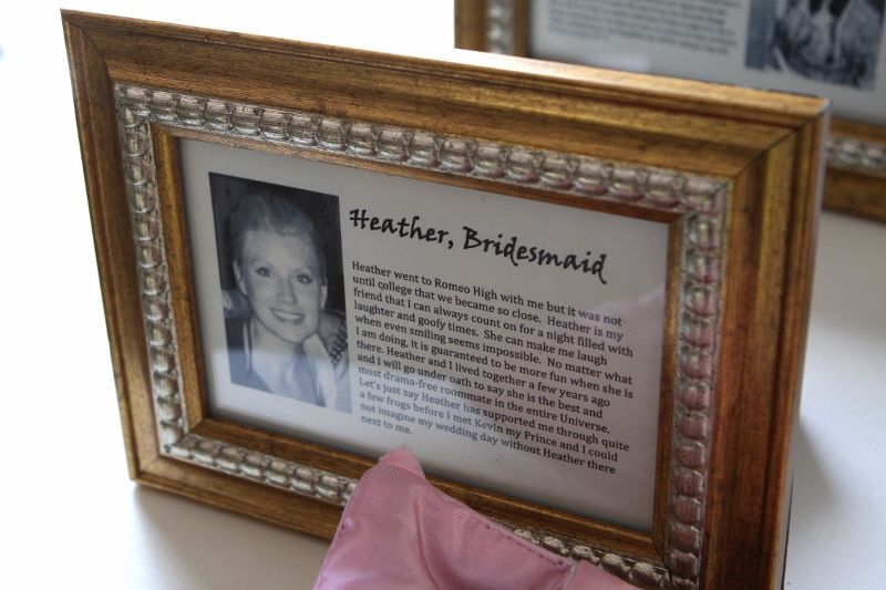 """""""I got this fabulous idea online and then created my own bios for each bridesmaid to display at my shower and then again at our wedding. Inside each 4x6 frame I wrote a short piece about how I met each bridemaid and why I love them with a small picture. I have 10 of the 4x6 frames and the small title frame with the """"Meet the Maids"""" words inside. Our guests loved this idea and so did my girls!"""""""
