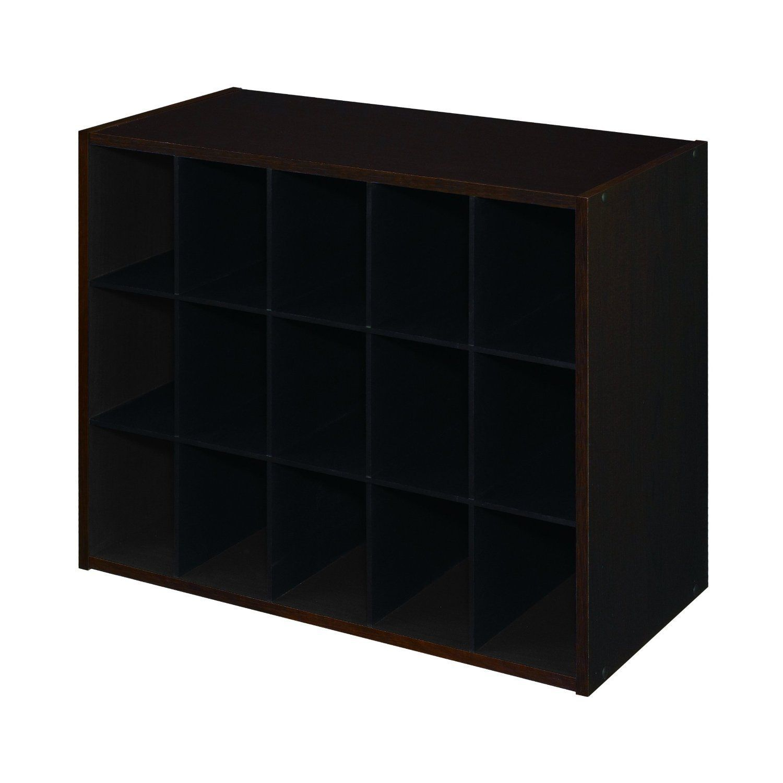 15 Pair Shoe Rack Closet Cubby Organizer Shelves In Espresso Wood Finish