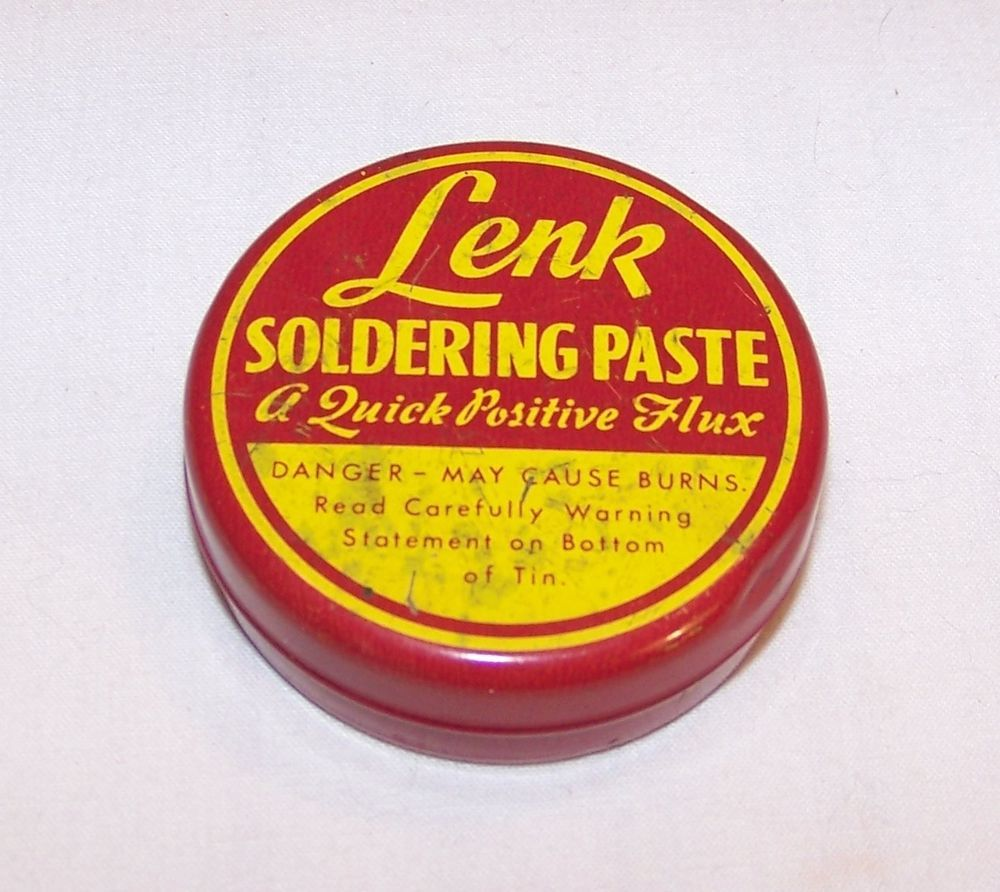 Vintage Lenk Solder Paste Tin - Advertising - Soldering Flux / Fluxes Container #LenkMfgCo