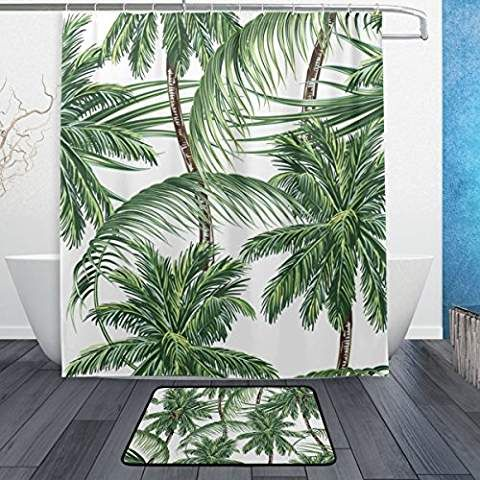 Jstel Palmen Tropical Leaves 3 Teiliges Badezimmer Set