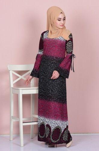 Sefamerve Otantik Desenli Elbise 3001 05 Koyu Fusya Elbise Modelleri Elbise Elbiseler