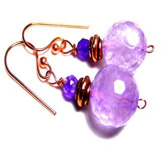 Accessorize with these fun and stylish Amethyst Solid Copper Drop Earrings. Crafted of copper, these hook earrings feature a stunning, round-shaped, 12-15mm amethyst that will complement your daily ensemble.