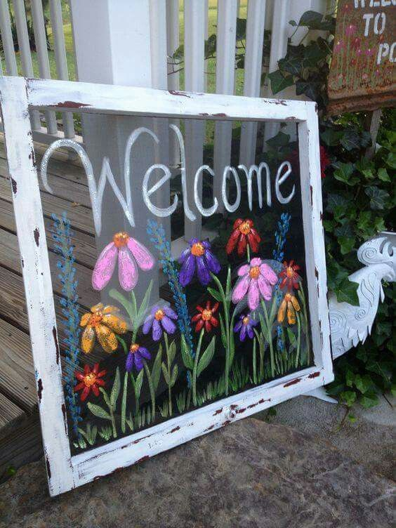 Painted window screen | Recycling- Upcycling | Pinterest ...