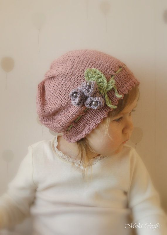 KNITTING PATTERN slouchy flower hat Hannah with crochet flowers and ...