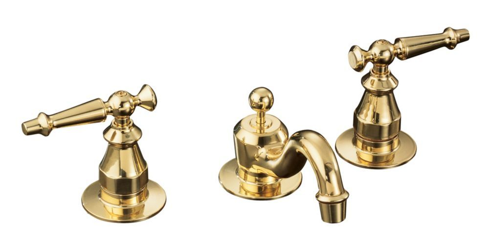 Antique Widespread Bathroom Faucet In Vibrant Polished Brass