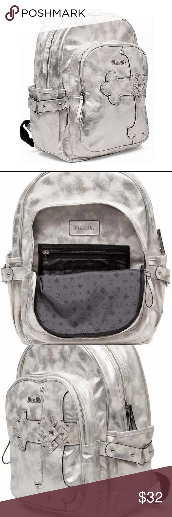 Miss me backpack pearlsilver Faux leather Miss me backpack pearlsilver faux leather  backpack compartments padded adjustable Straps stud and rhinestone ... 5b5ab557c6