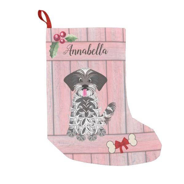 Cute Girl Shih Tzu Pink Wooden Fence Monogram Small Christmas Stocking #stocking #christmas #sock #xmas