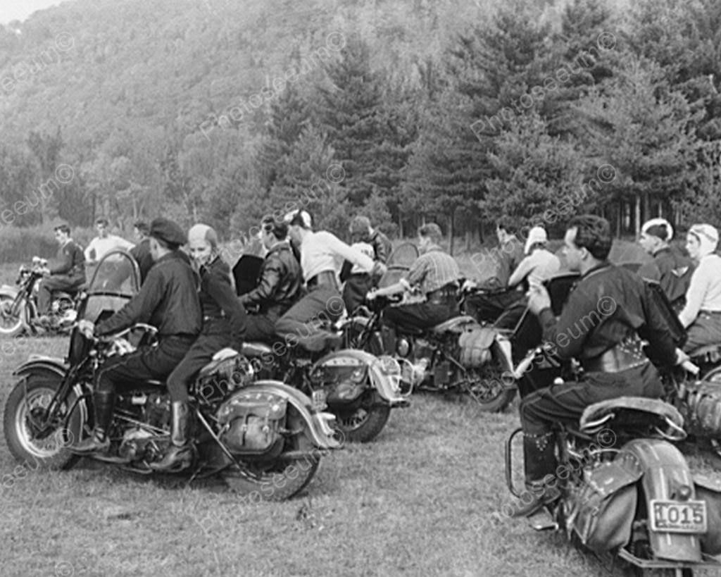 Motorcycle bikers 1940s group vintage 8x10 reprint of old photo ebay