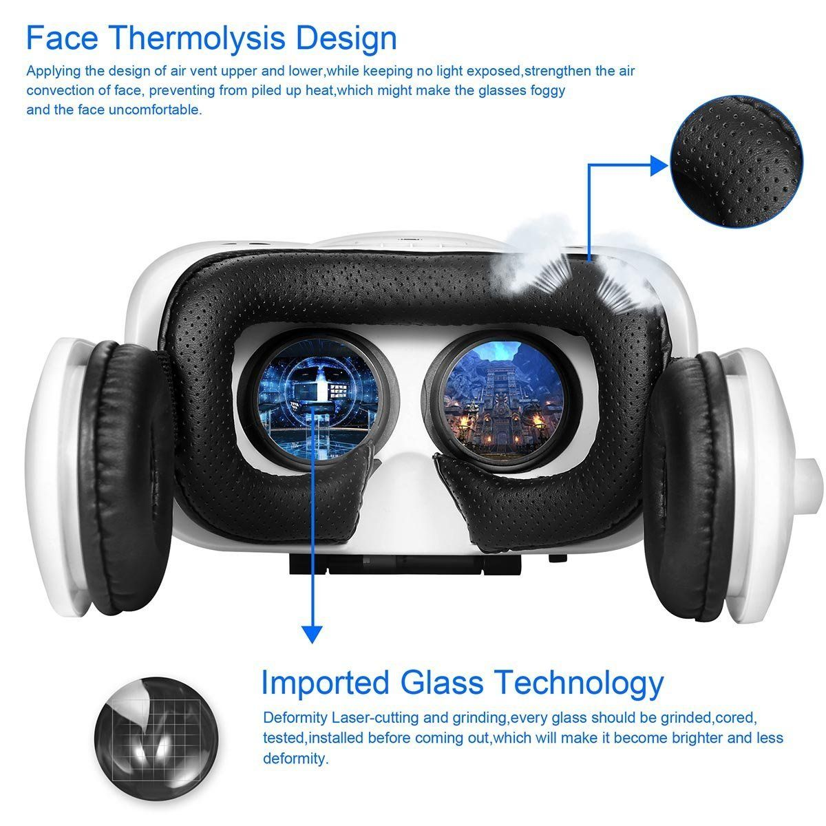 8119a81ddfe Canbor Virtual Reality Headset VR Headset VR Goggles With Stereo Headphones  VR Glasses for 3D Movies