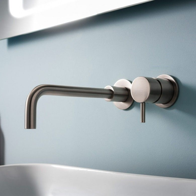 Crosswater Mike Pro Wall Mounted Basin Mixer Tap Brushed Stainless Steel Effect Basin Mixer Taps Wall Mounted Basins Wall Mounted Taps